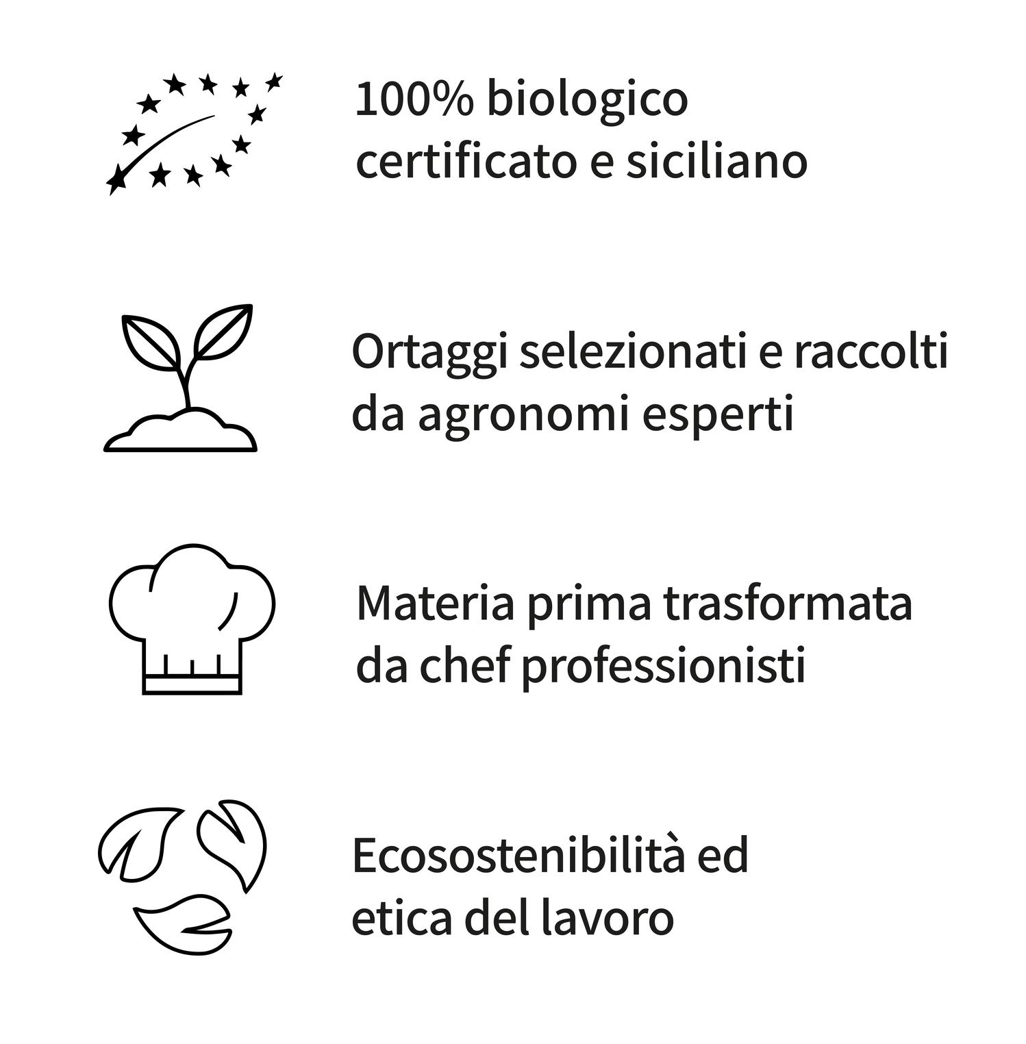 100% biologico certificato e siciliano, ortaggi selezionati e raccolti da agronomi esperti, materia prima trasformata da chef professionisti, ecosostenibilità ed etica del lavoro